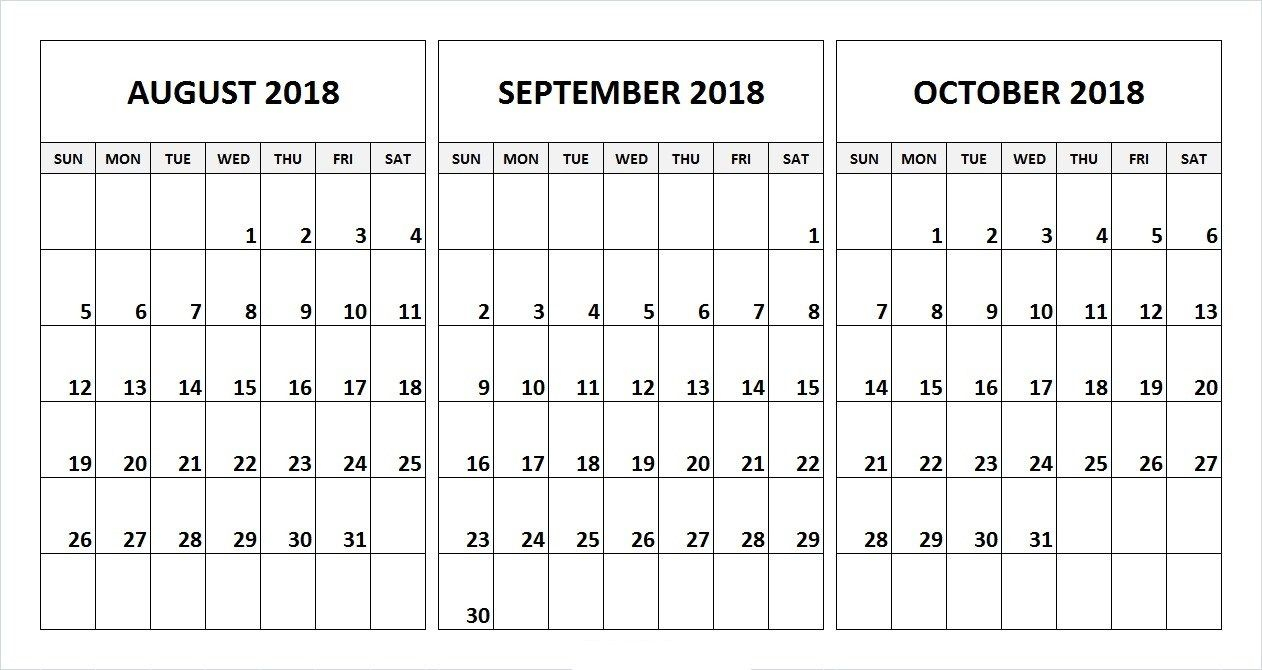 August September October 2018 Calendar Desk Template
