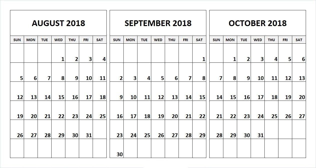 August September October 2018 Calendar Desk Template