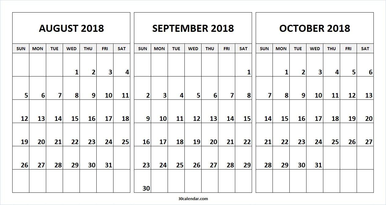 August September October 2018 Calendar Free Template | Alone