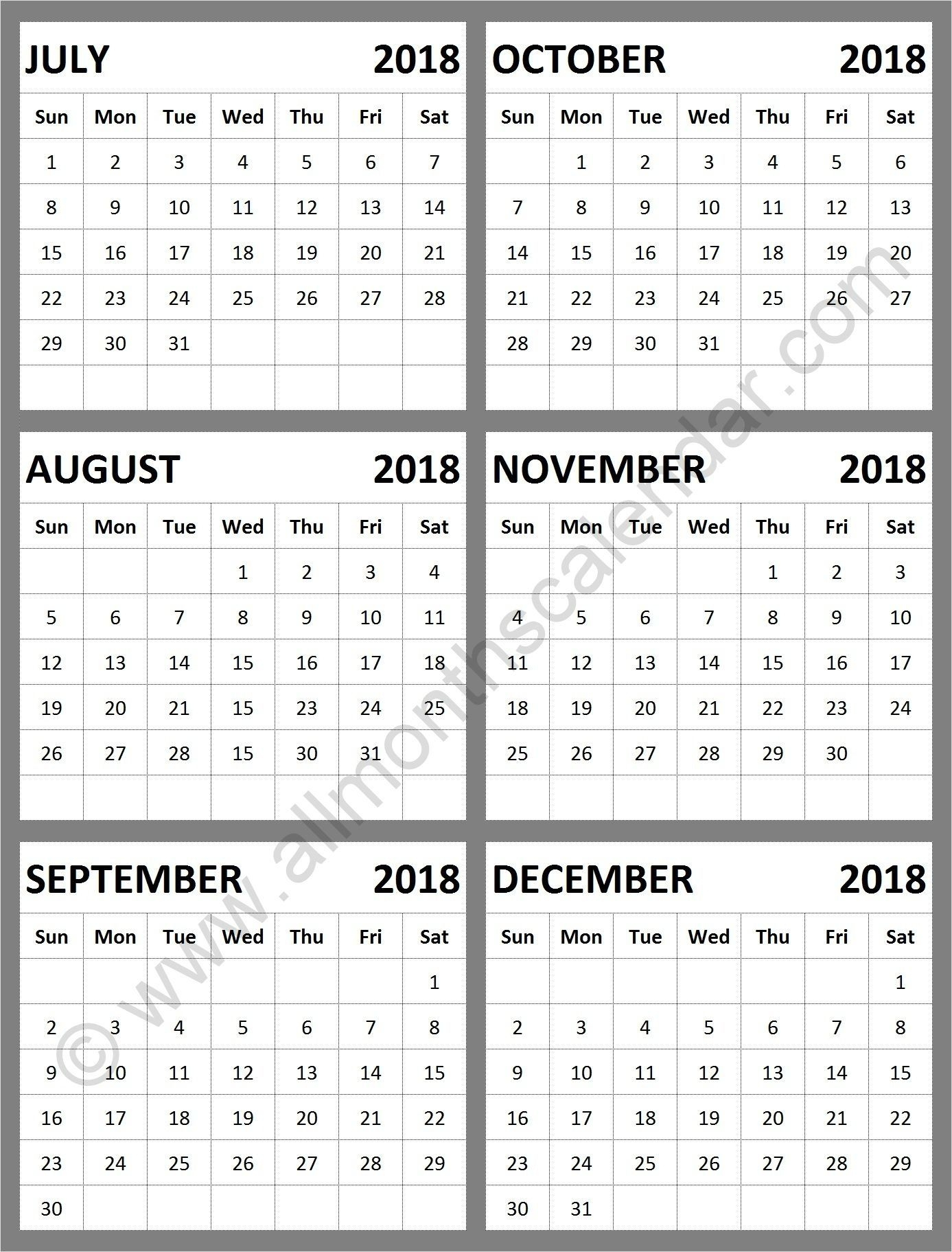 August Through December 2019 Calendar | Calendar Format Example