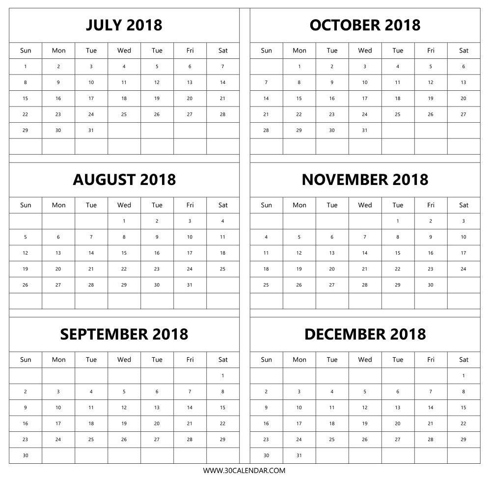 August Thru December 2018 Calendar Picture | Calendar Format