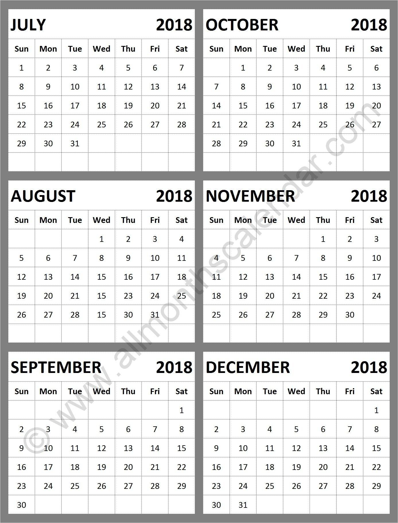 August To December 2018 Calendar   Calendar Format Example
