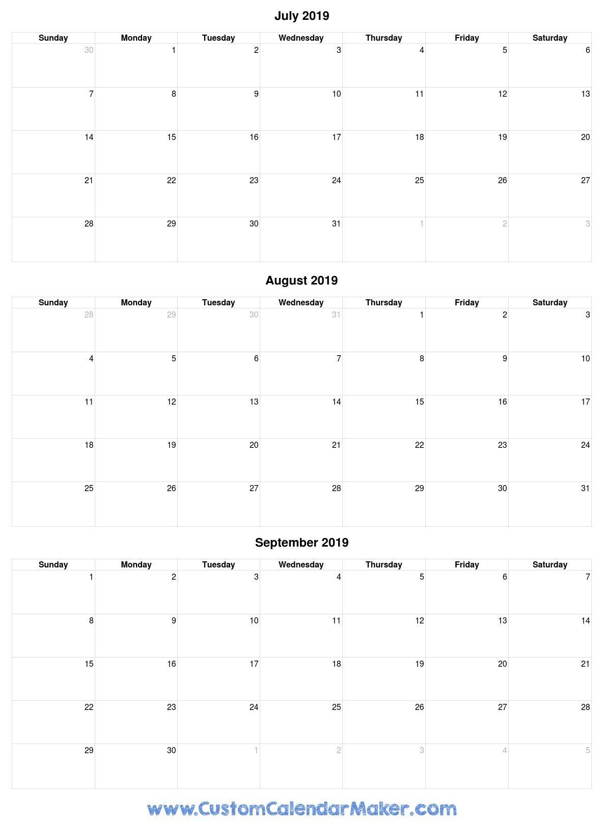 August To December 2019 Calendar | Calendar Format Example