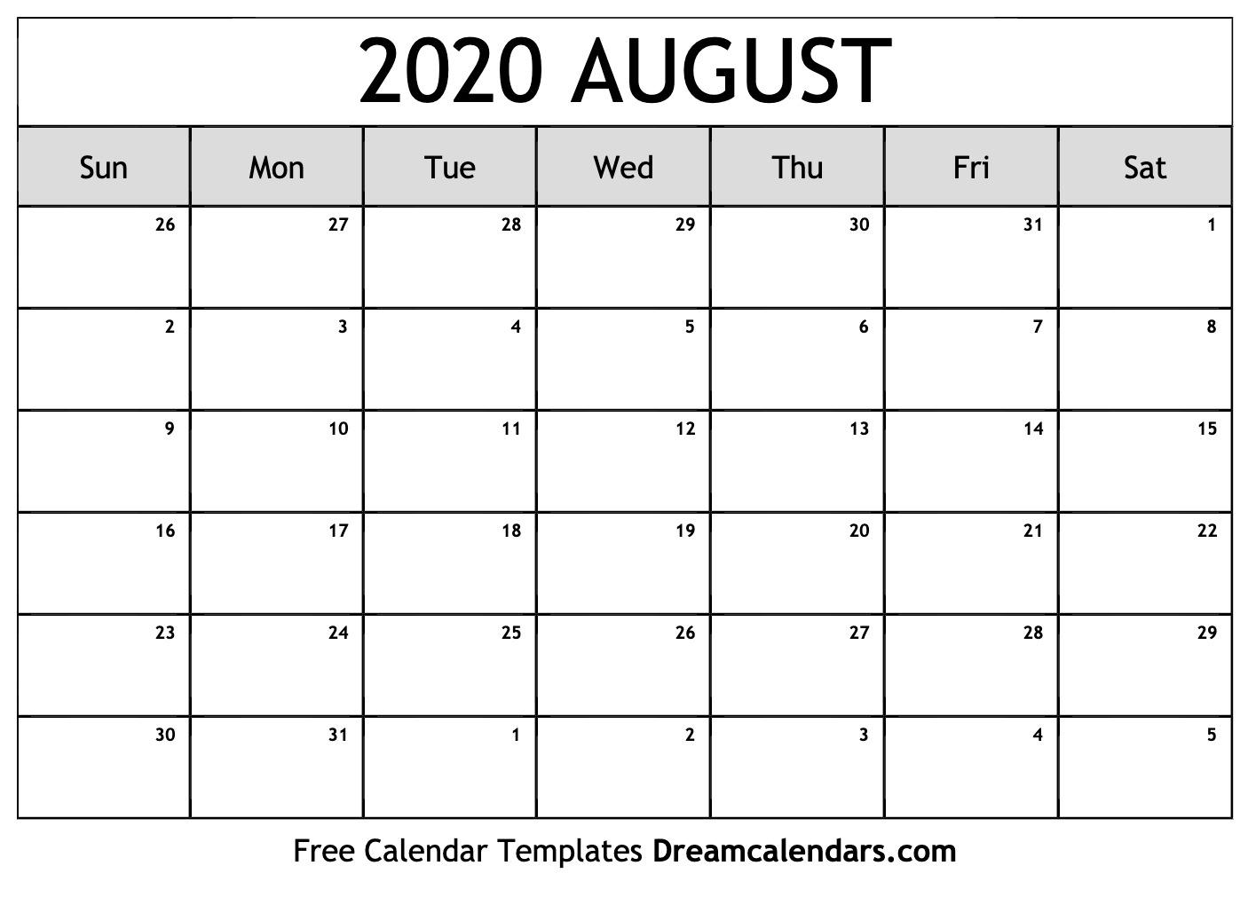 August To December Calendar Template 2020 | Example Calendar