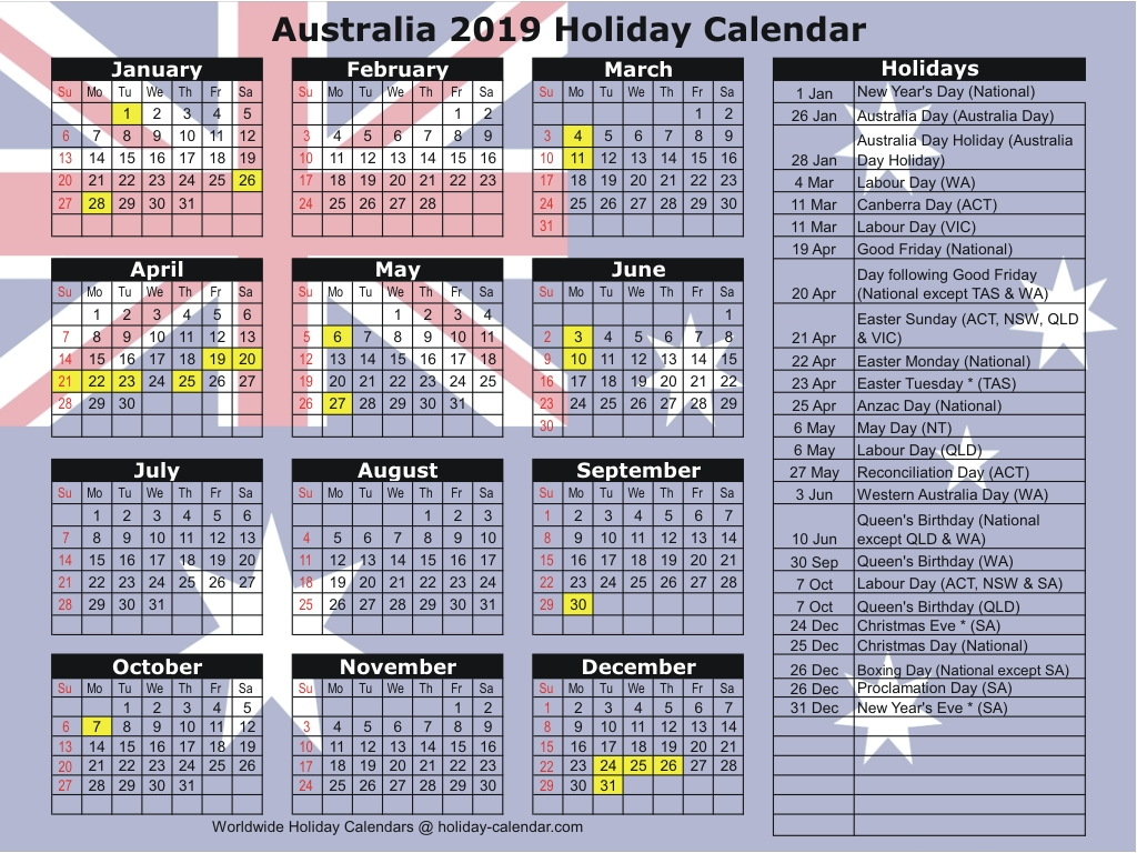 Australia 2019 / 2020 Holiday Calendar