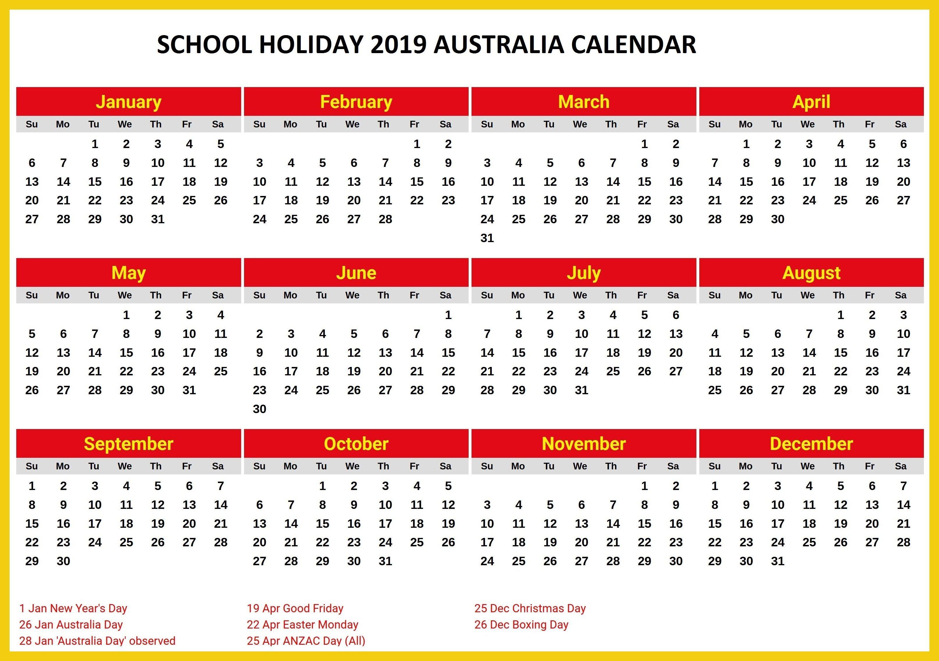 Australia 2019 School Holidays Printable Calendar | 2019