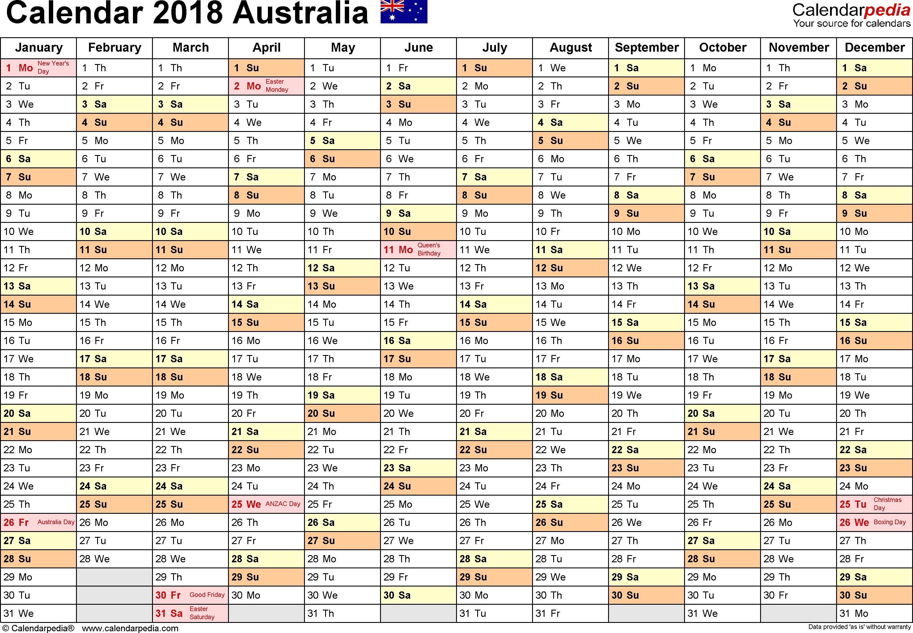 Australia Calendar 2018 - Free Printable Excel Templates