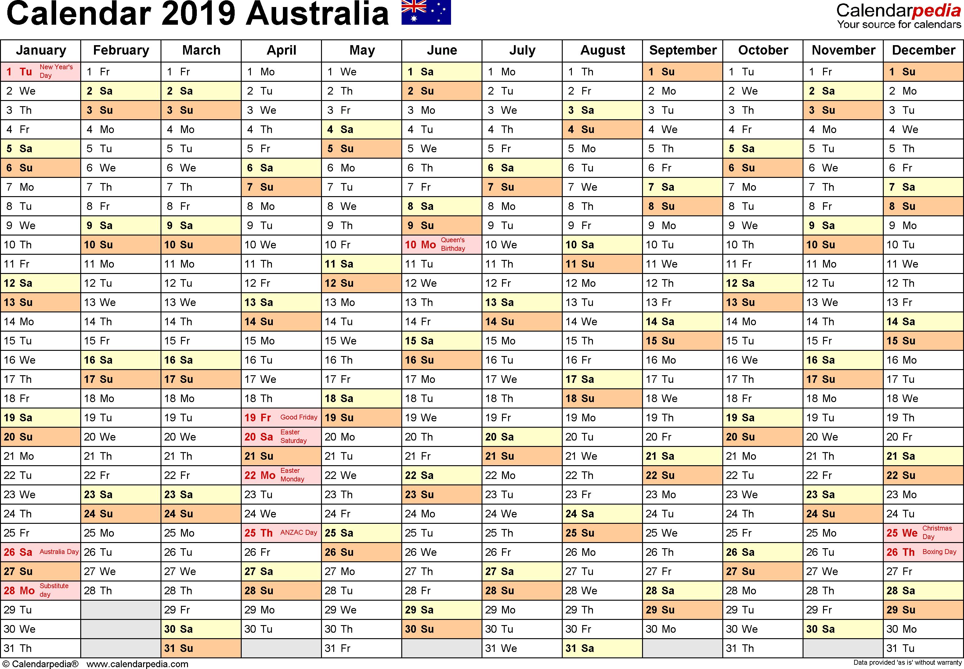 Australia Calendar 2019 - Free Printable Excel Templates