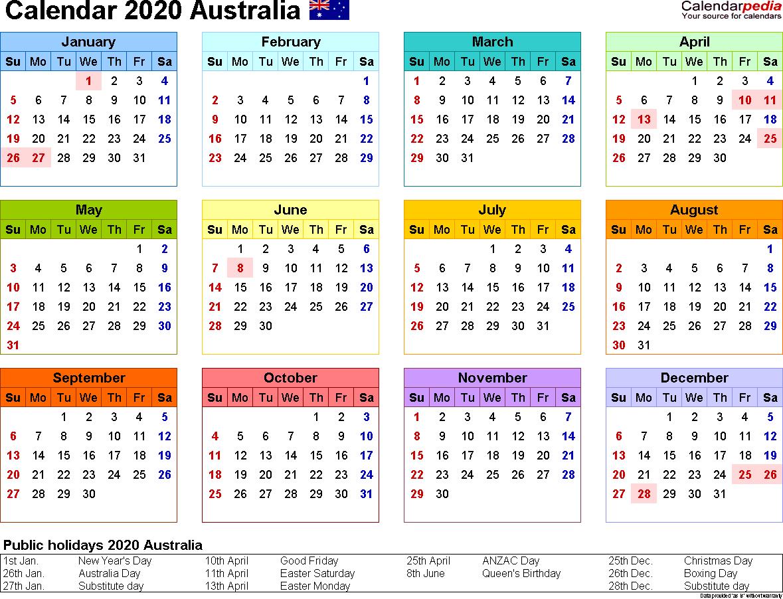 Australia Calendar 2020 - Free Word Calendar Templates