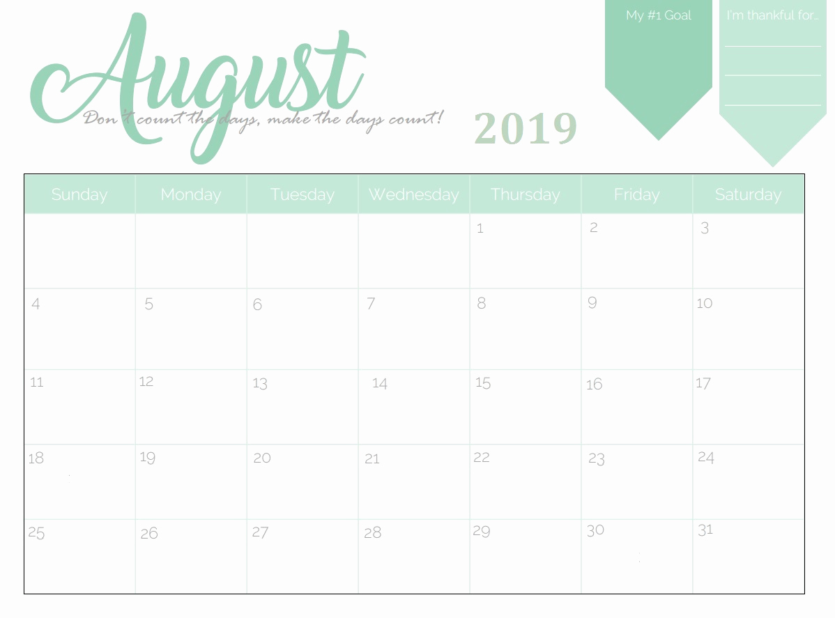 Awesome 31 Illustration August Calendar Printable 2019