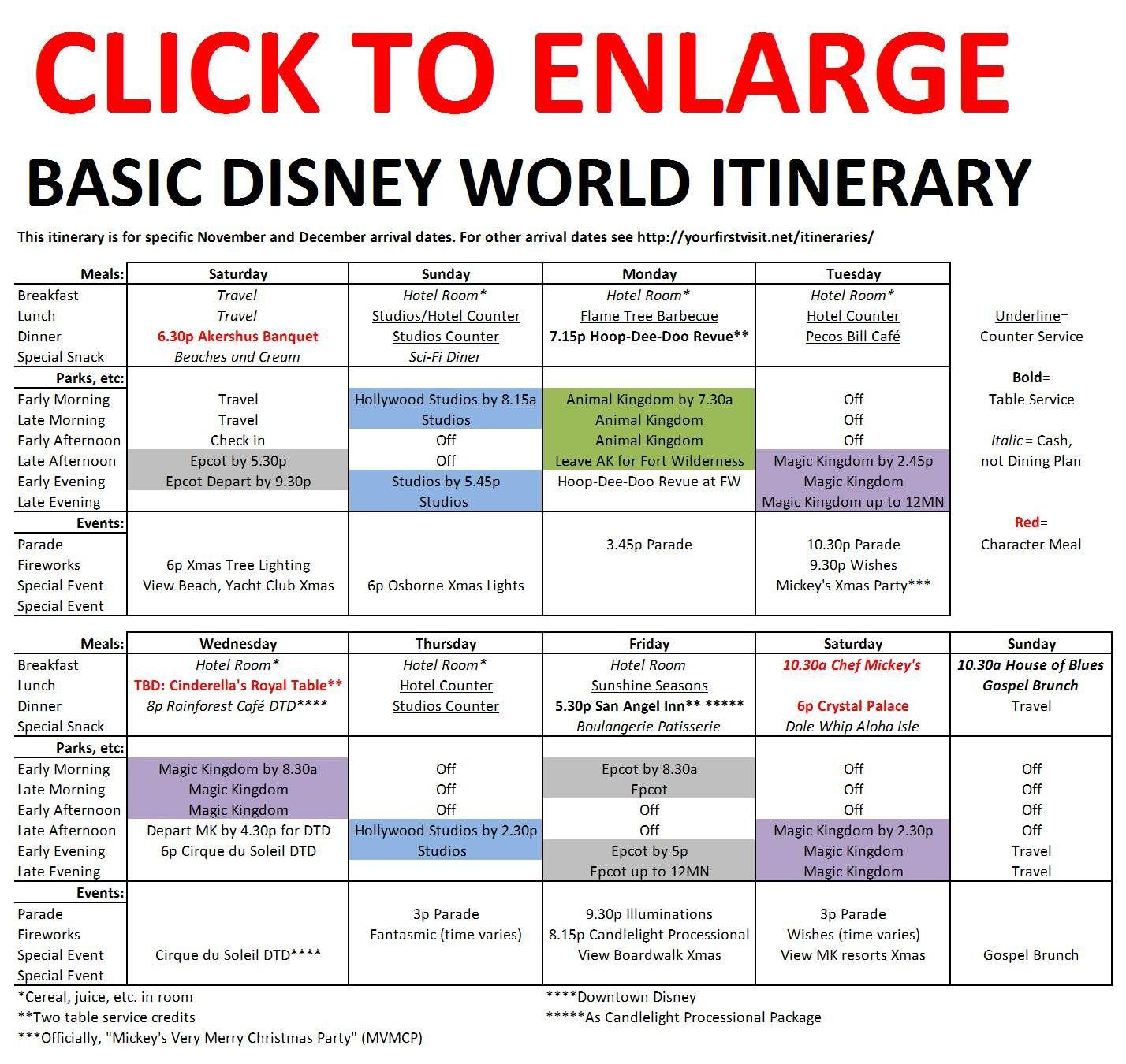 Basic 2019 December Disney World Itinerary | All Things