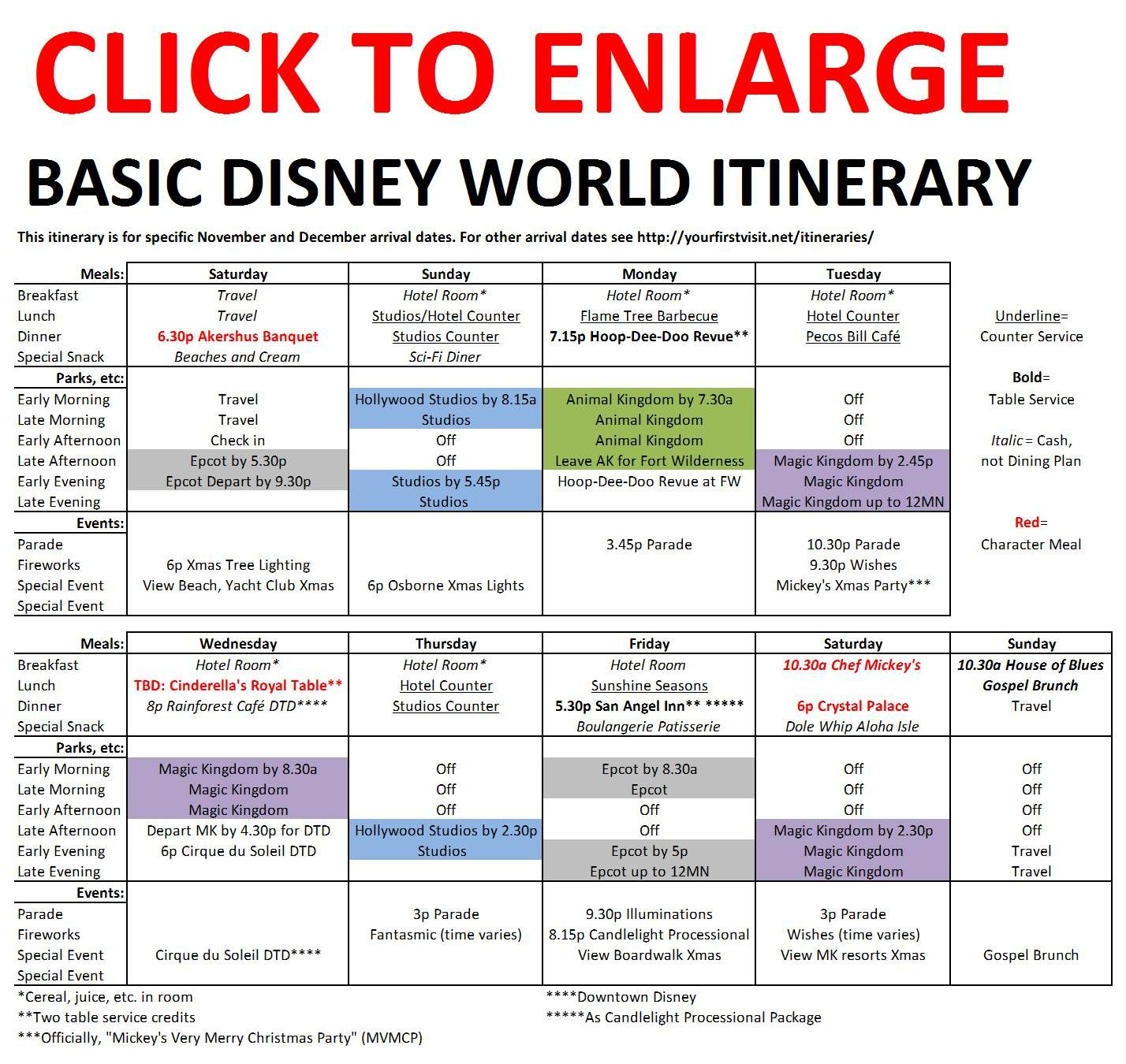 Basic 2019 December Disney World Itinerary | All Things