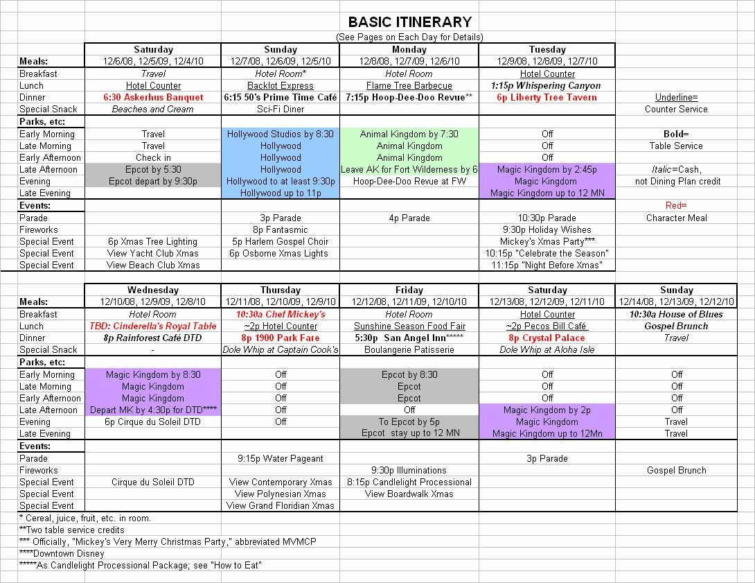Basic 2019 December Disney World Itinerary | Disney Vacation