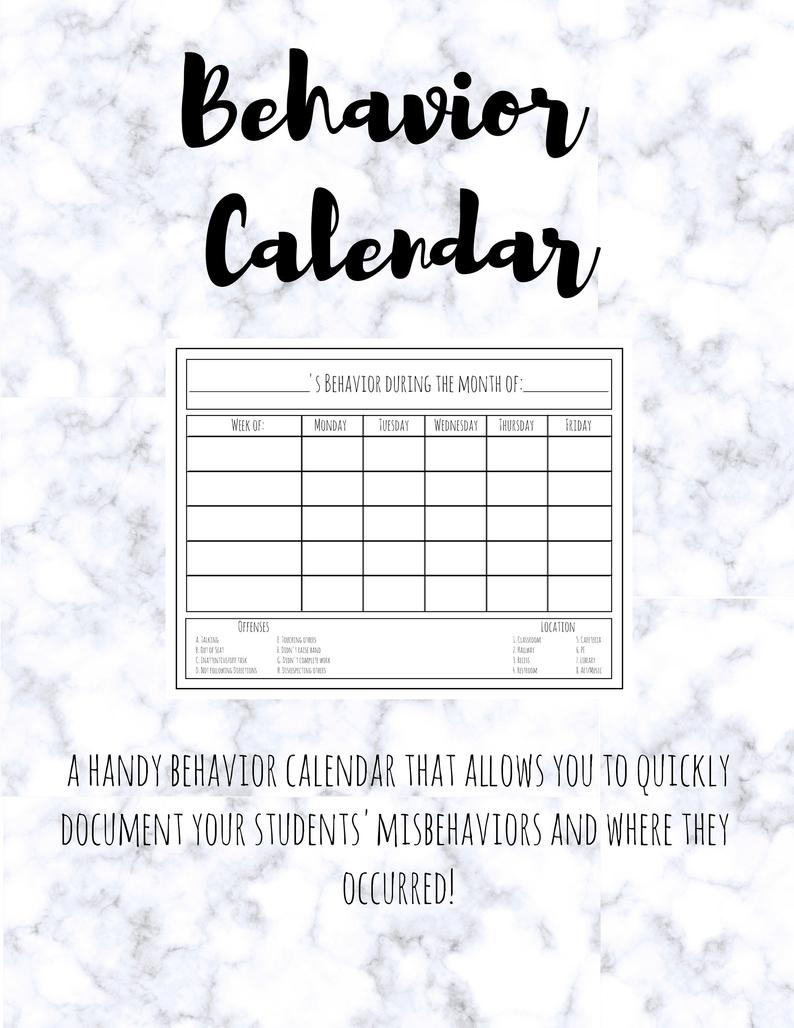 Behavior Calendar [Printable] Classroom Behavior Chart For Classroom  Management