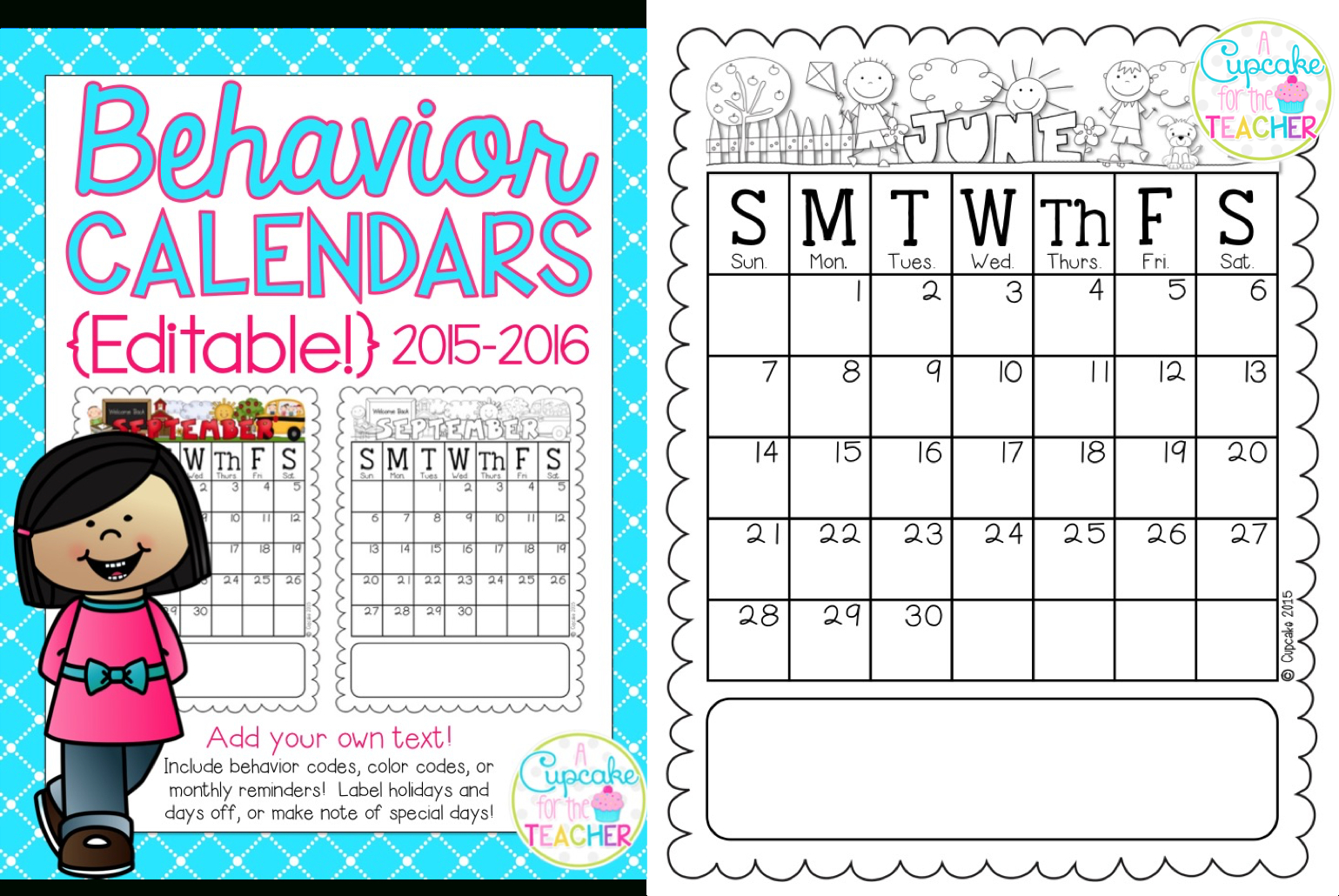 Behavior Calendars 2015-2016 {Makeover Madness!} | A Cupcake