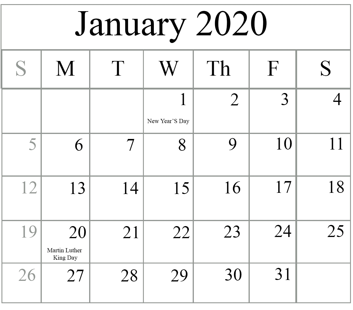 Best 2020 January Calendar With Holidays Printable