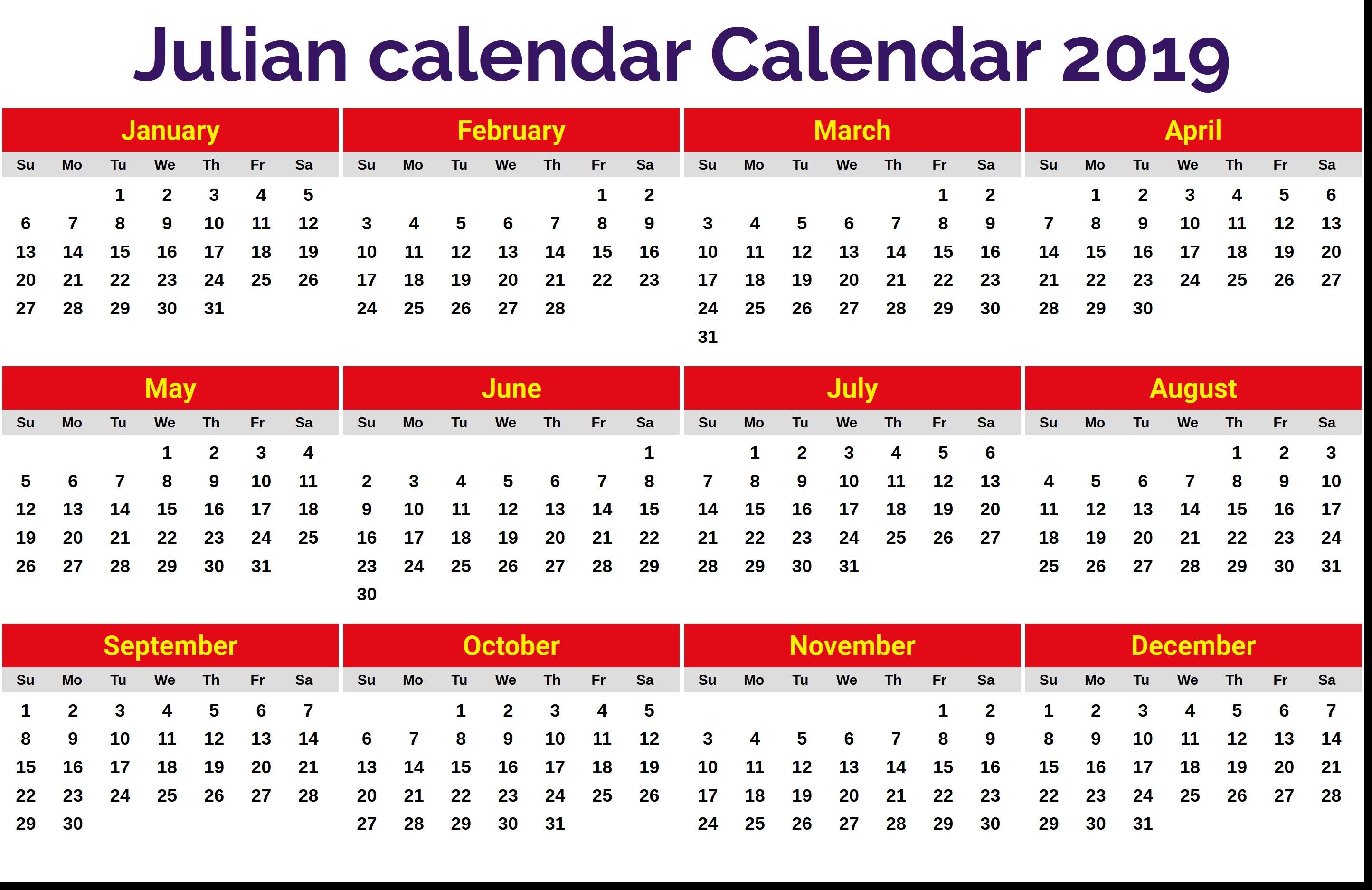 Best Of 2019 Julian Date Calendar Printable | Free Printable