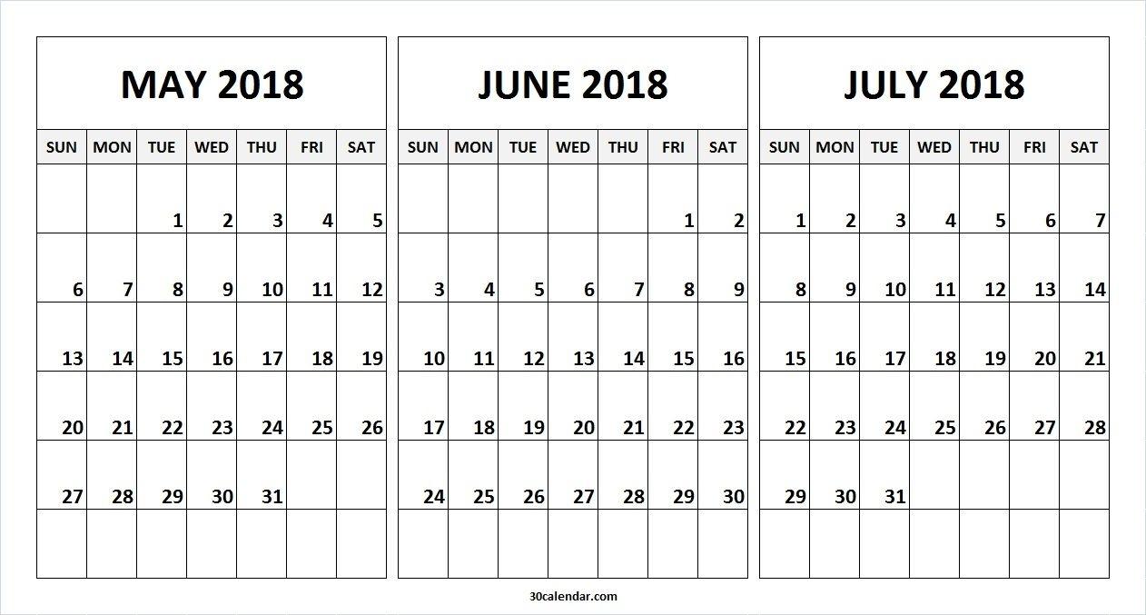 Best Printable Three-Month Calendar 2019 June July August