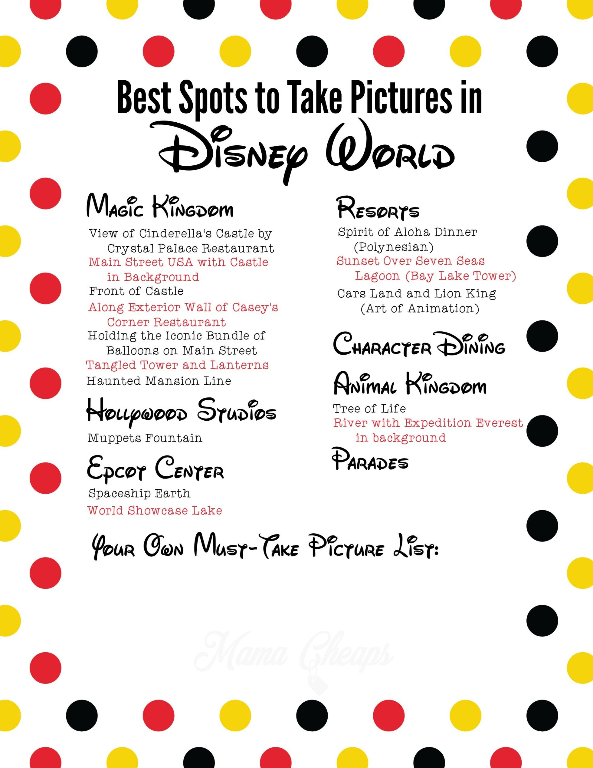 Best Spots To Take Pictures In Disney World + Free Printable