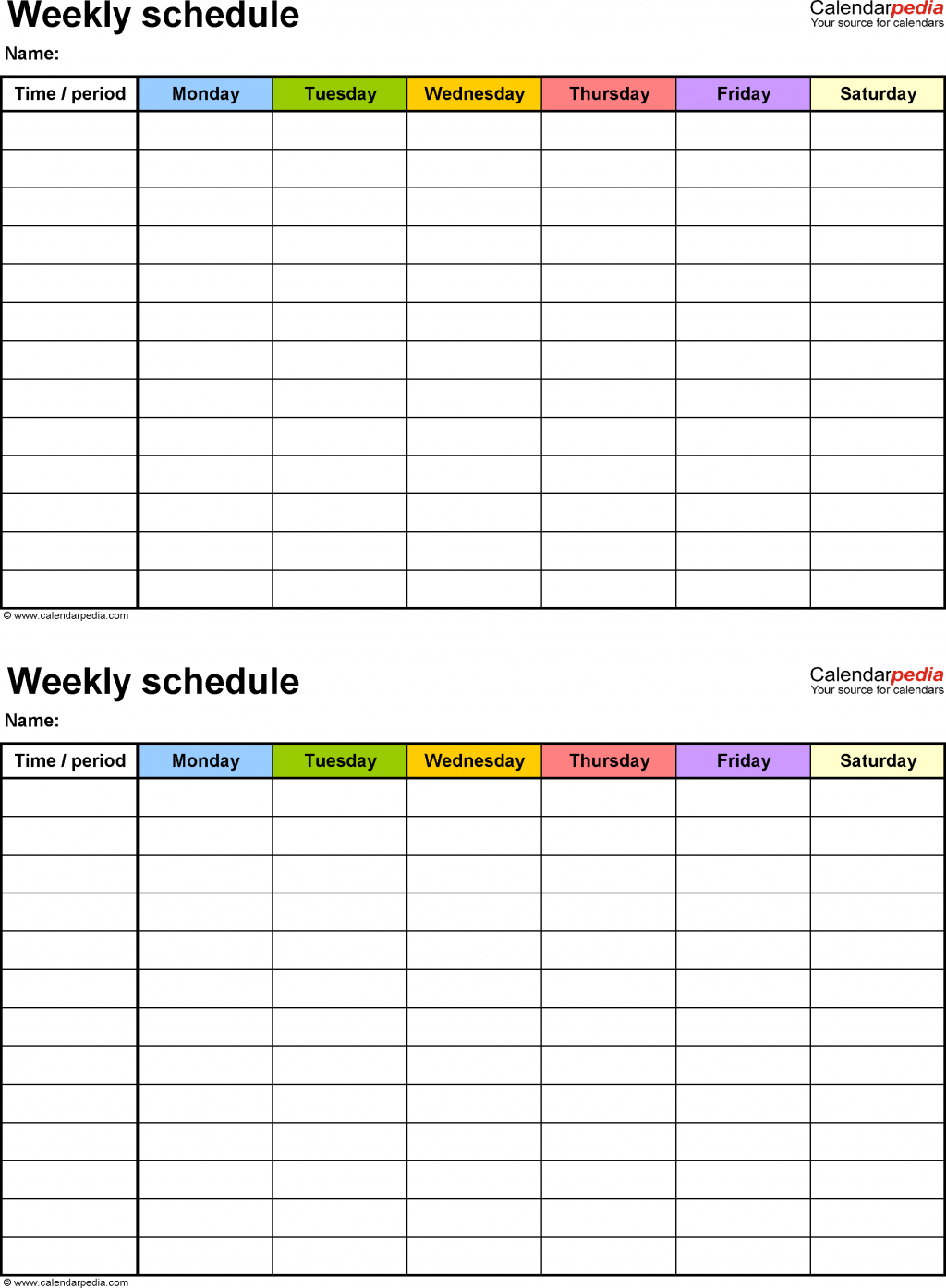 Bi Weekly Calendar Template Excel Week Printable Pdf With