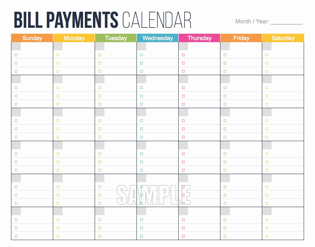Bill Budget Eet Payment Monthly Bills For Payments Calendar