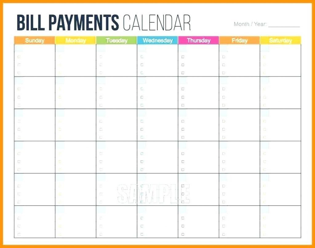 Bill Calendar Template Of Sale Printable Camisonline Net