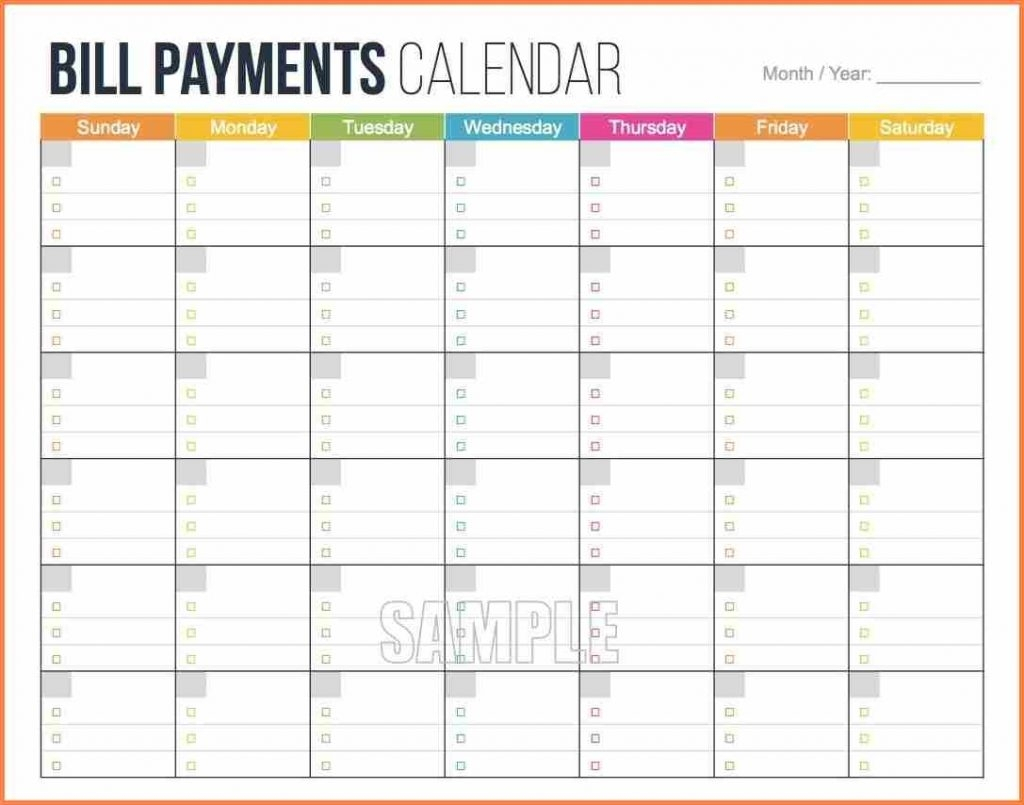 Bill Pay Calendar Template Free | Isacl