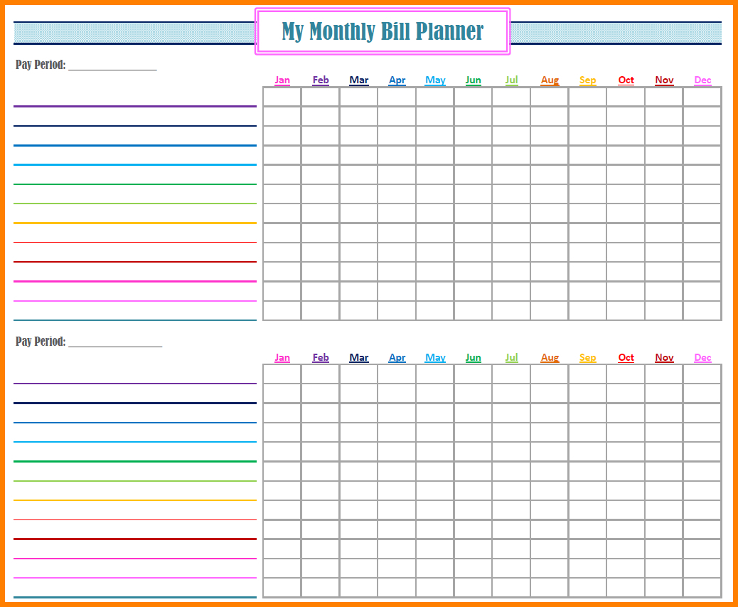 Bill Pay Spreadsheet Monthly Of Payments Calendar Editable