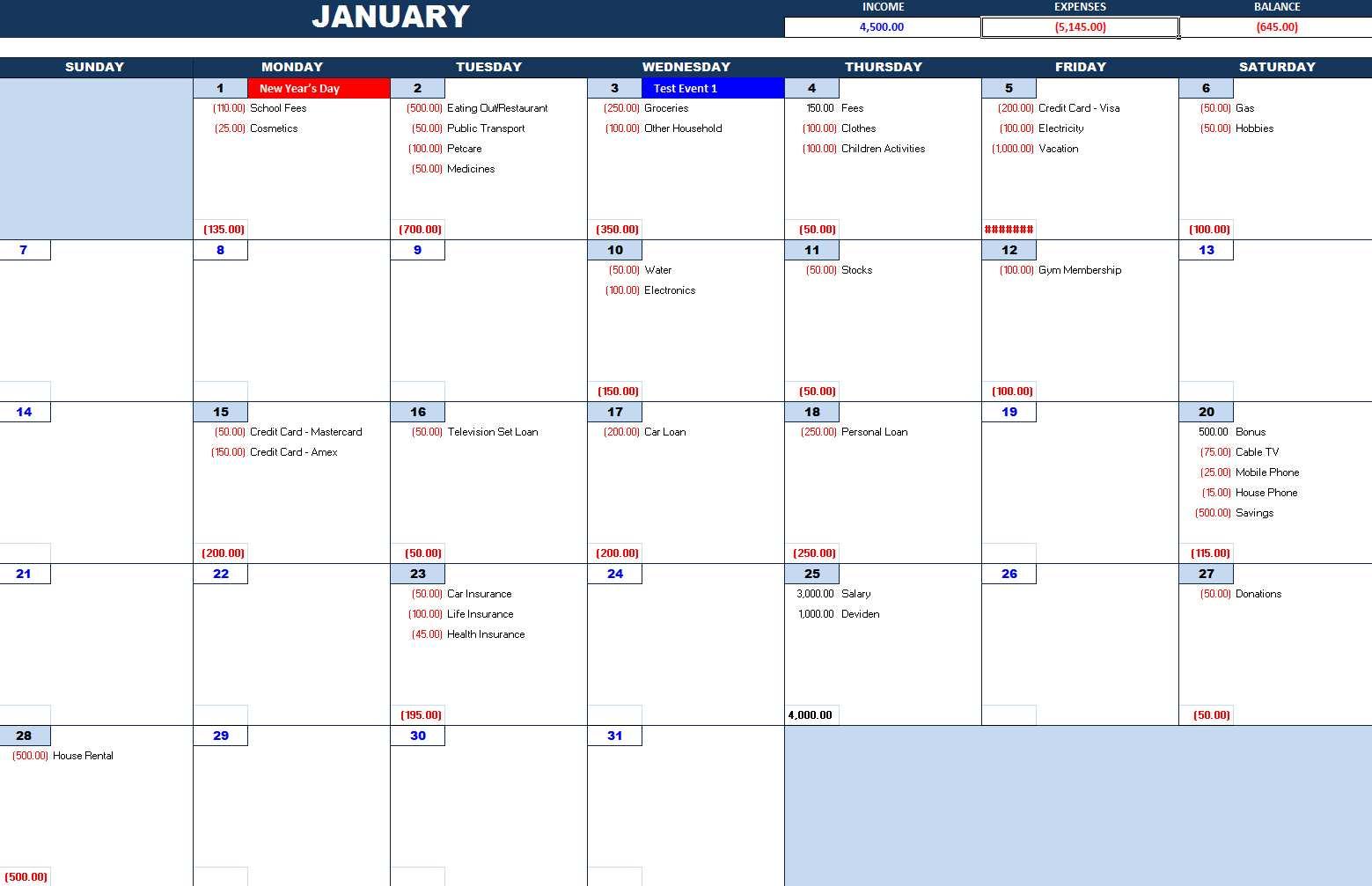Bill Payment Calendar – Excel Calendars