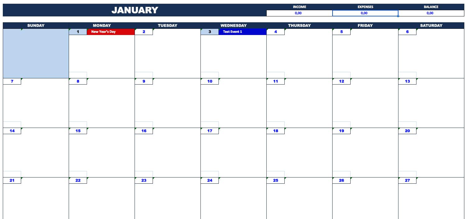Bill Payment Calendar » Exceltemplate