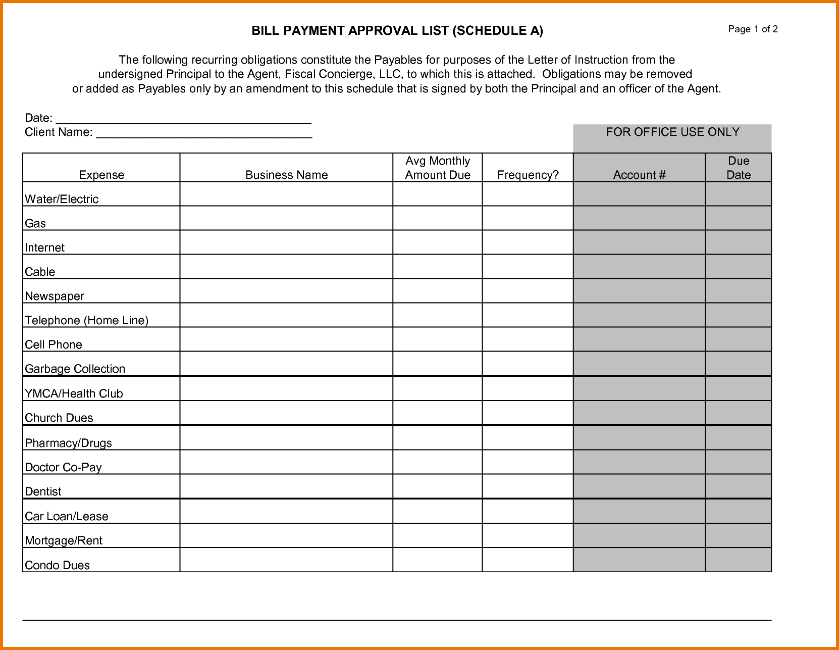 Bill Payment Chedule Template Of Ale Bi Weekly Monthly Excel