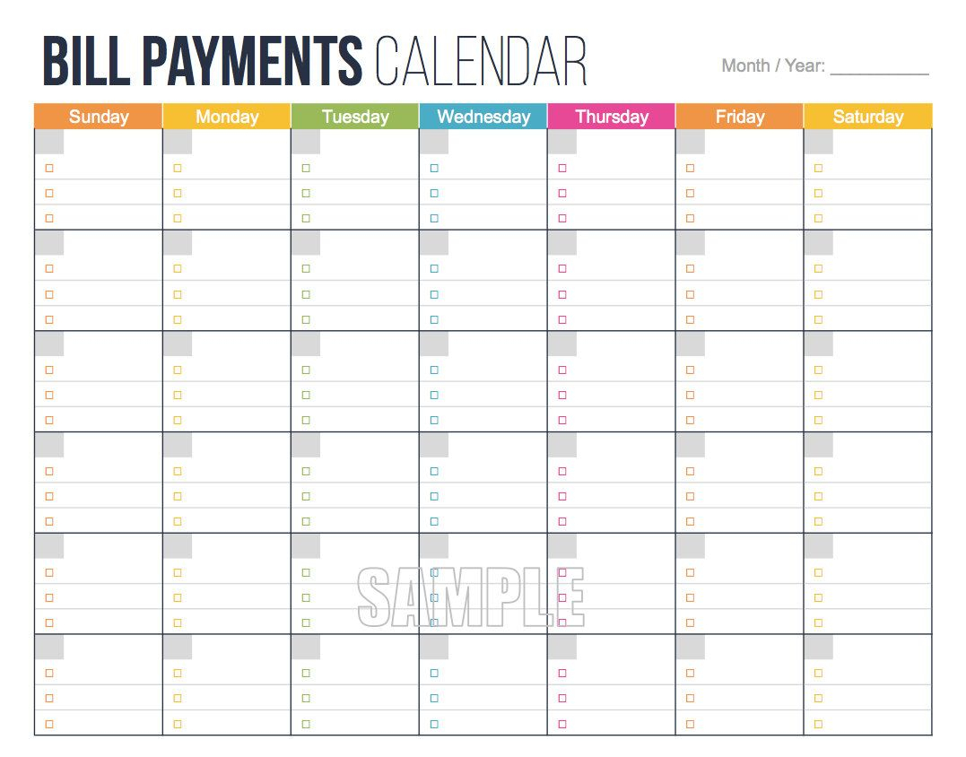 Bill Payments Calendar - Personal Finance Organizing