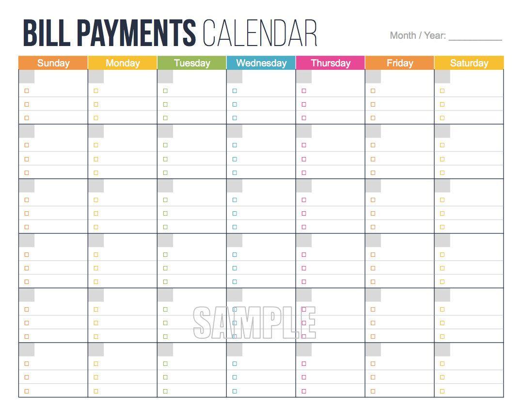Bill Payments Calendar - Personal Finance Organizing