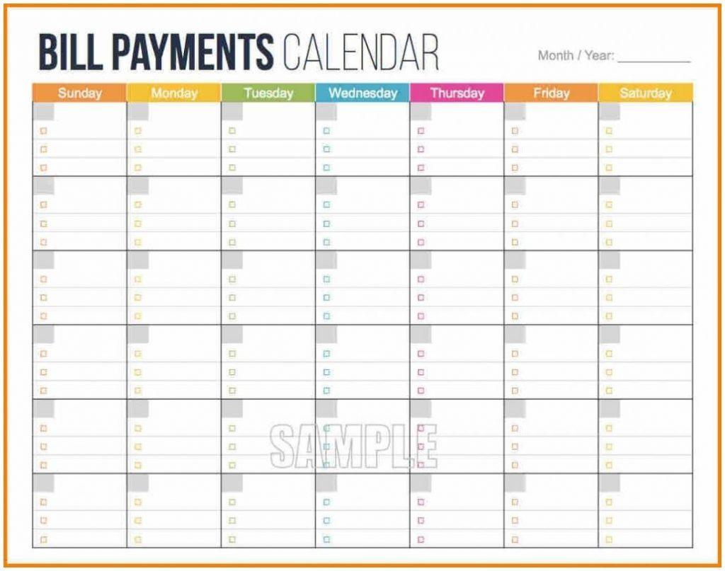 Bill Reminder Calendar Template Organizer Payment Excel