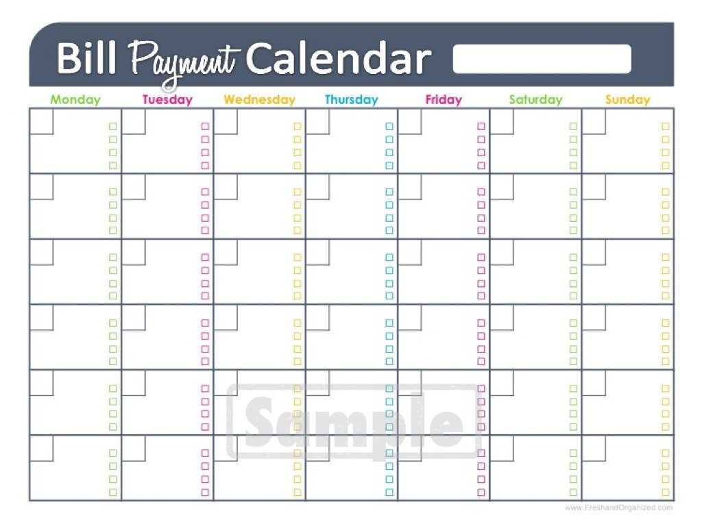 Bill Udget Spreadsheet Monthly Payment Printable Chart