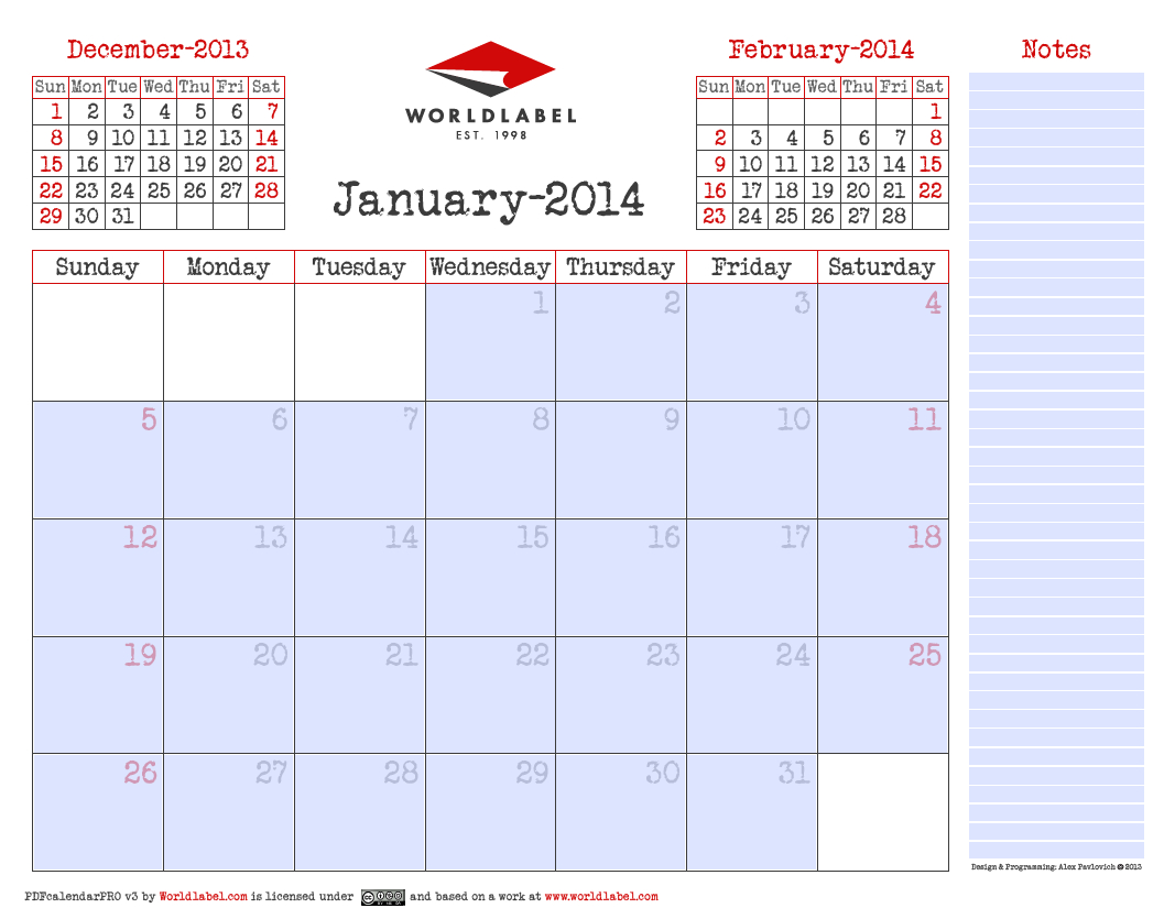 Blank 2014 Editable Fillable Pdf Calendar Pro | Free