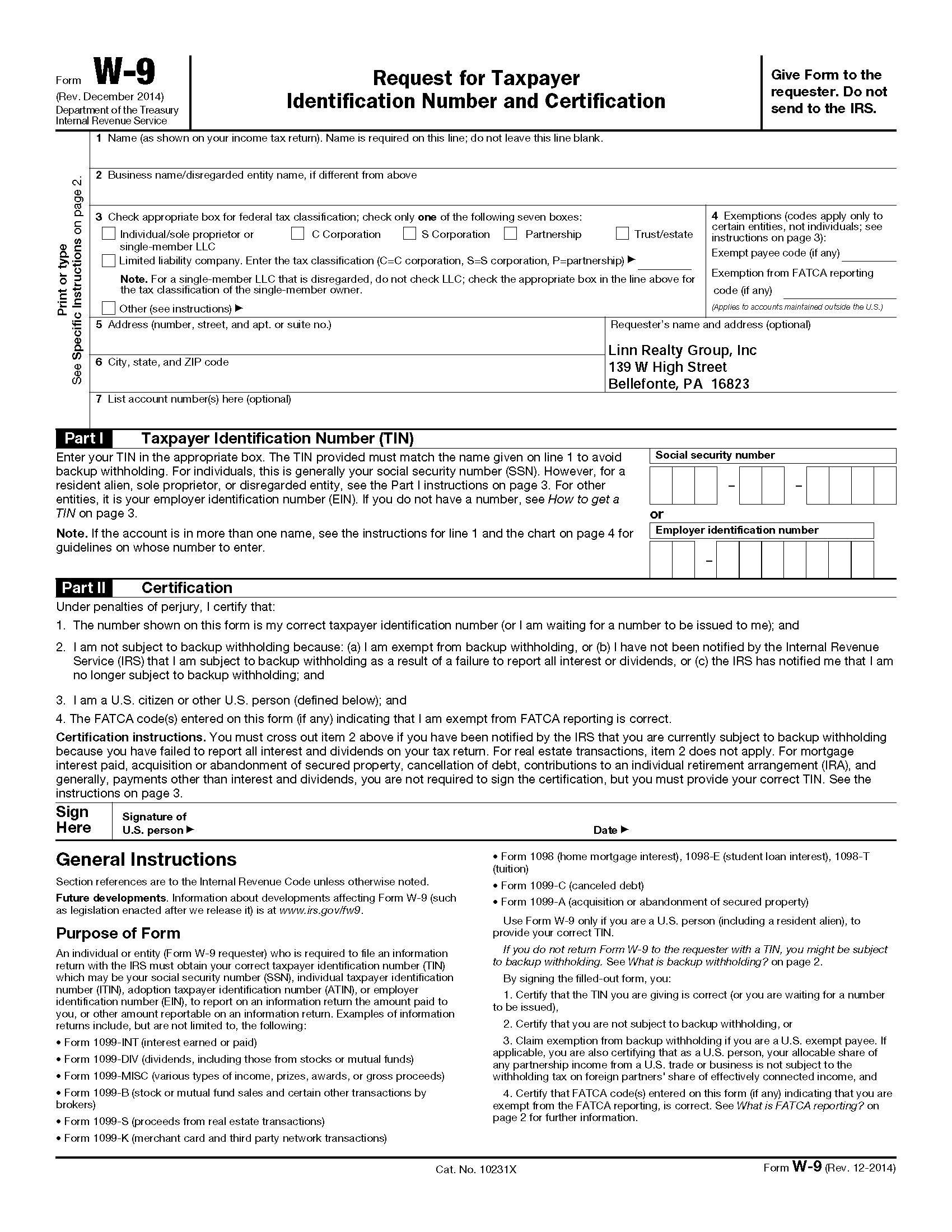 Blank 2019 W 9 Form Printable   Calendar Template Printable