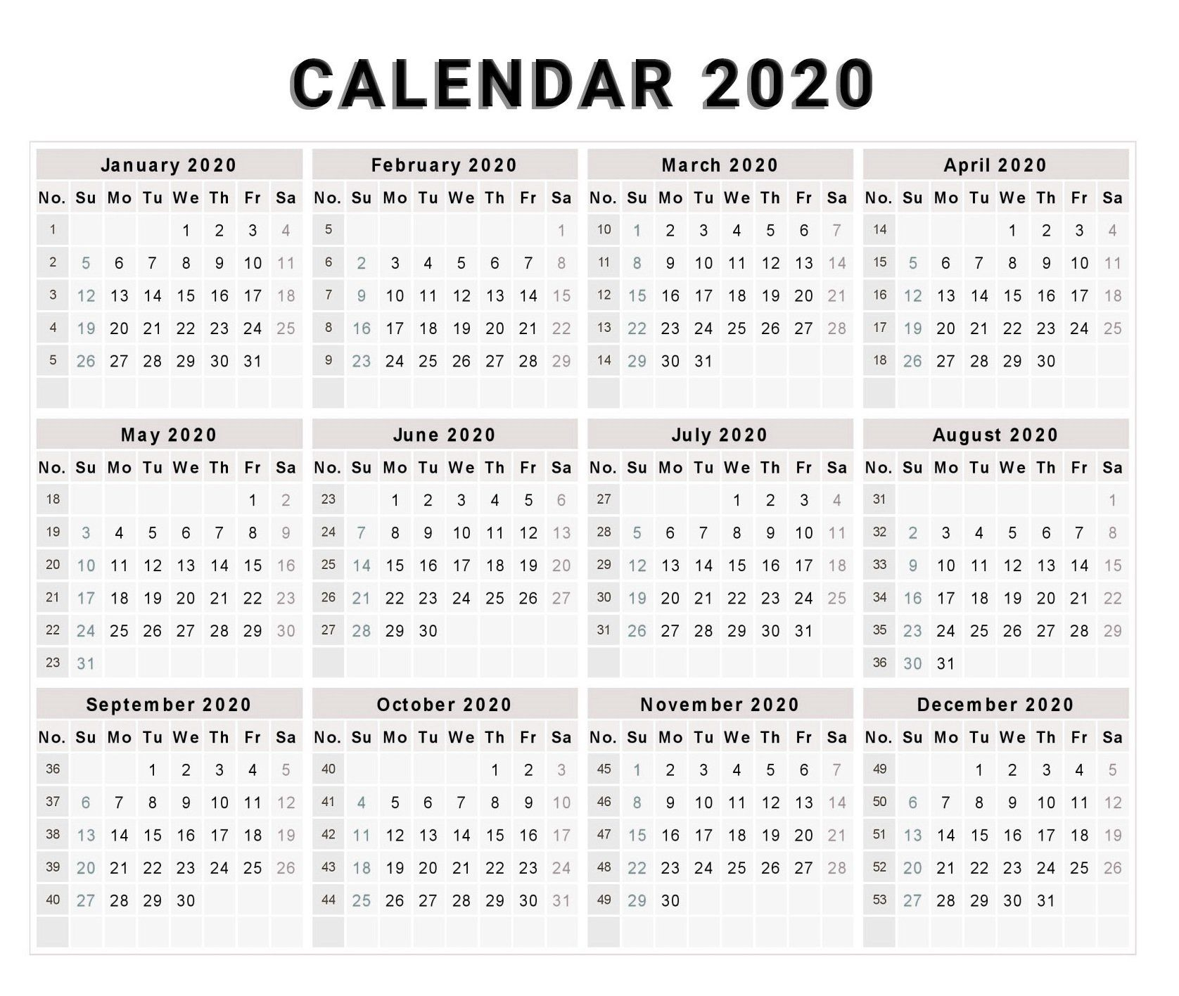 Blank 2020 One Page Calendar Printable | 2020 Calendars