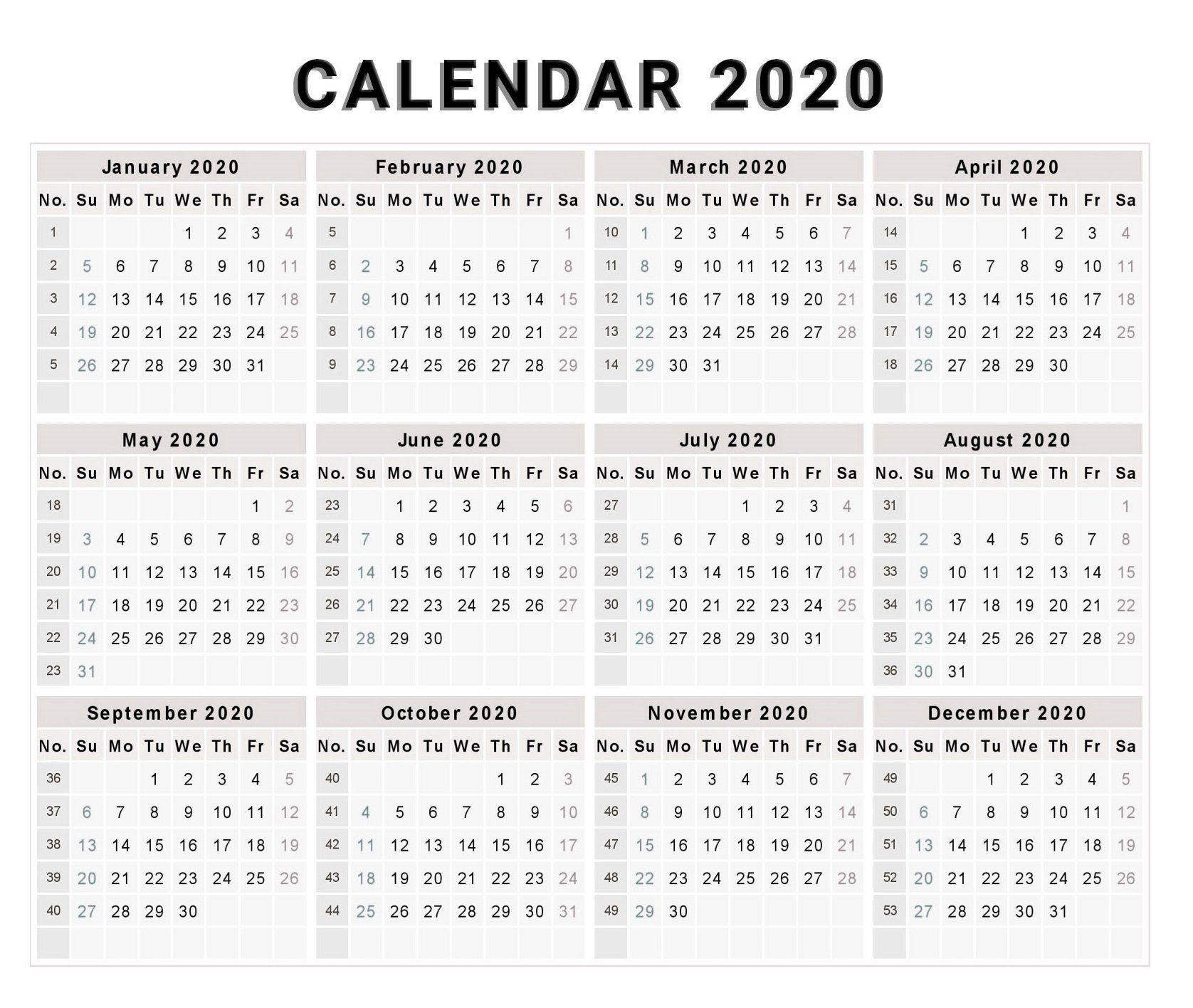 Blank 2020 One Page Calendar Printable   2020 Calendars