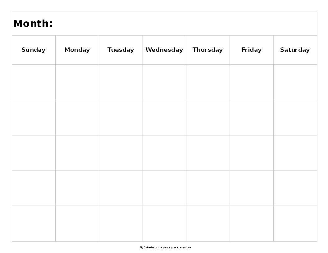 Blank 5 Week Calendar | Thekpark-Hadong