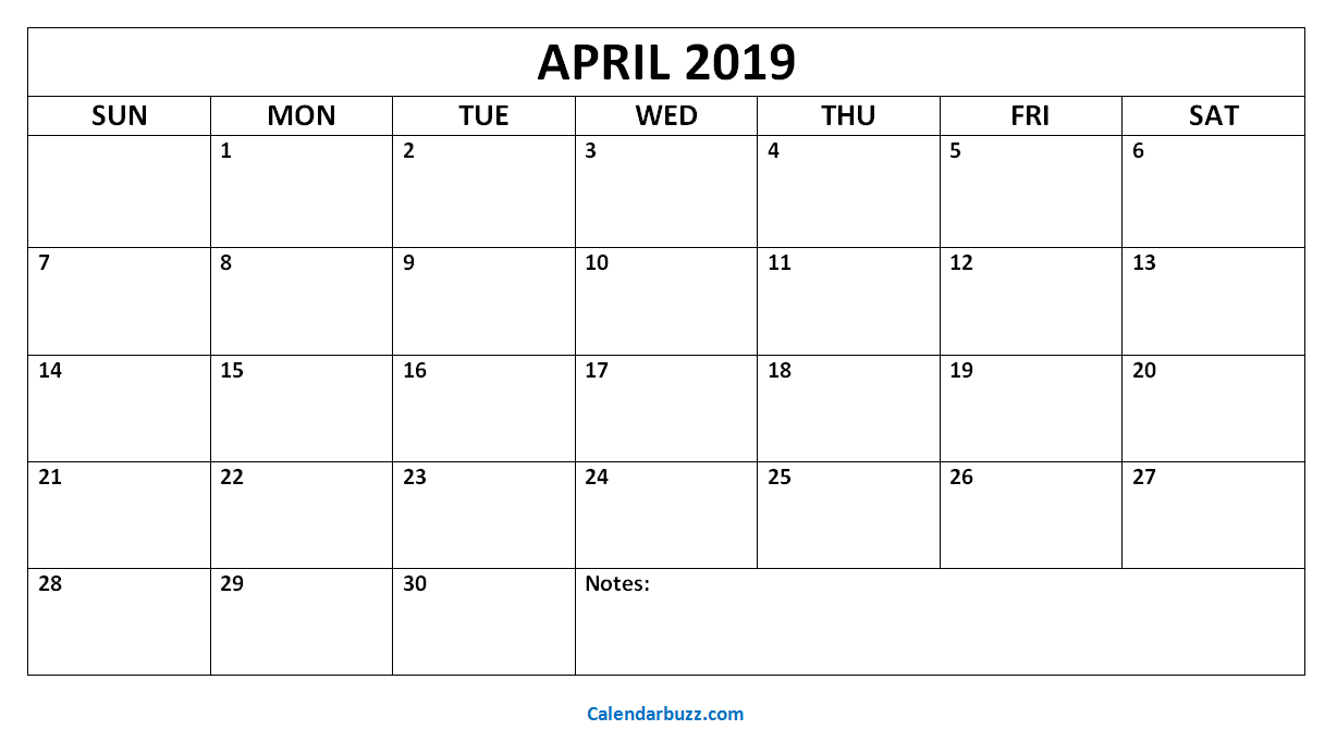 Blank April 2019 Calendar: Download The Free Printable