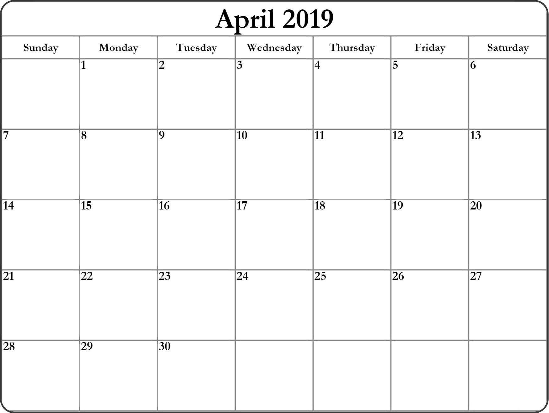 Blank April 2019 Calendar #full Page #tumblr #linkedin