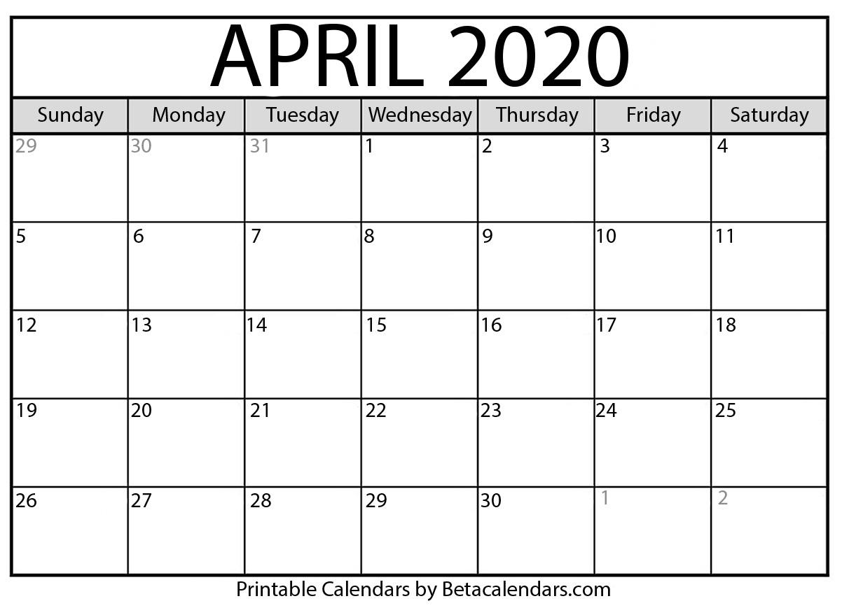 Blank April 2020 Calendar Printable - Beta Calendars
