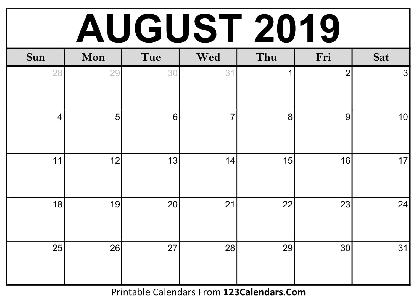Blank August 2019 Calendar - Easily Printable - 123Calendars