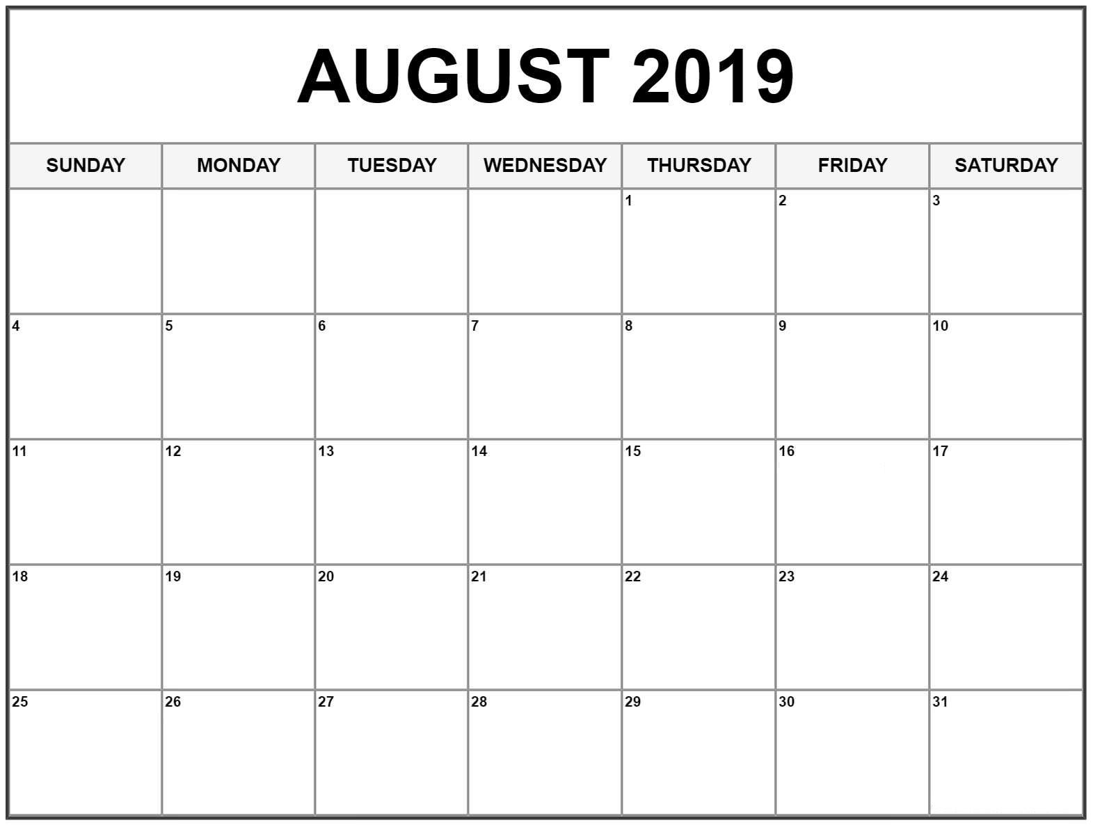 Blank August 2019 Calendar Editable | Printable Calendar