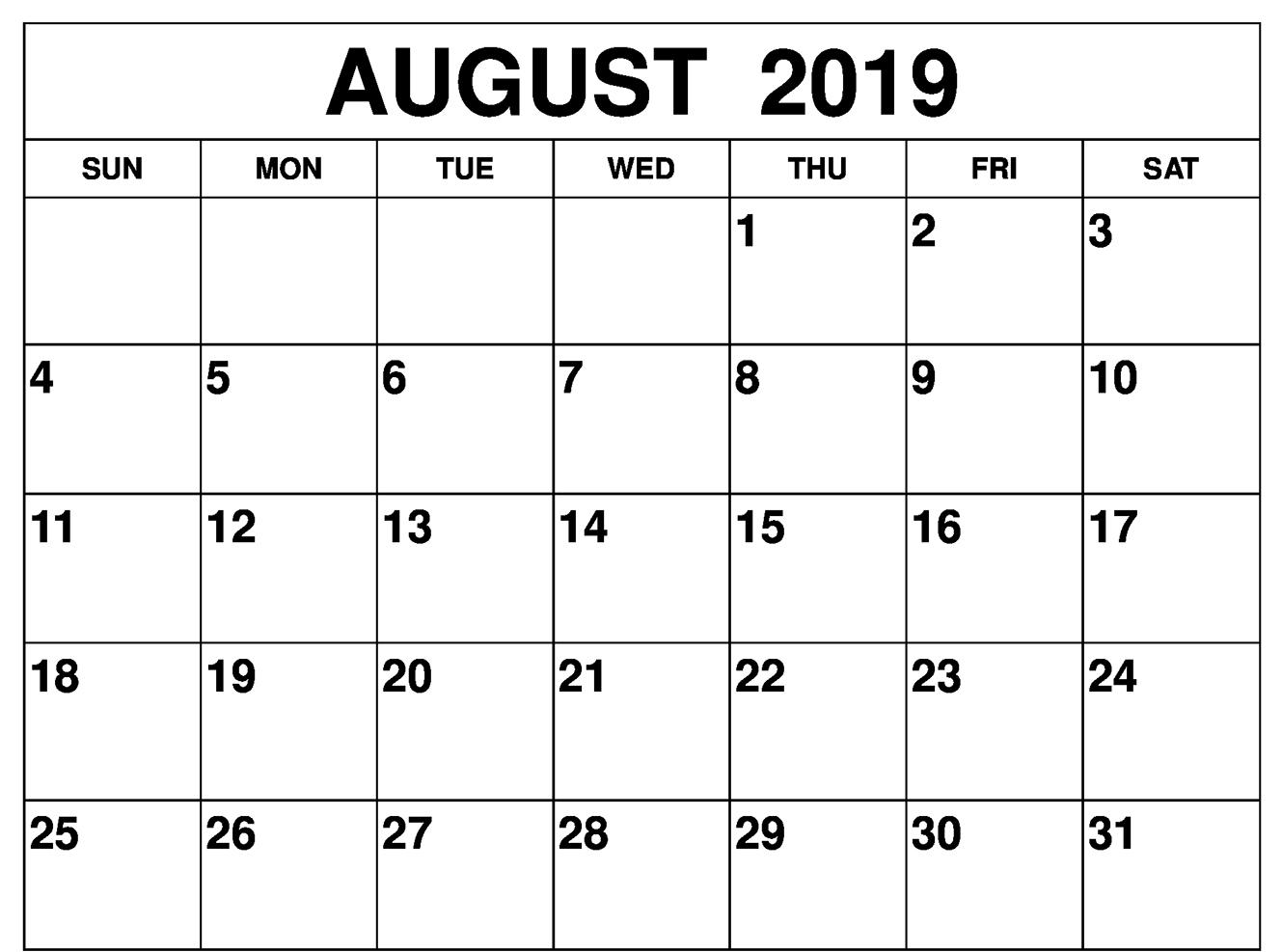 Blank August 2019 Calendar - Free August 2019 Calendar
