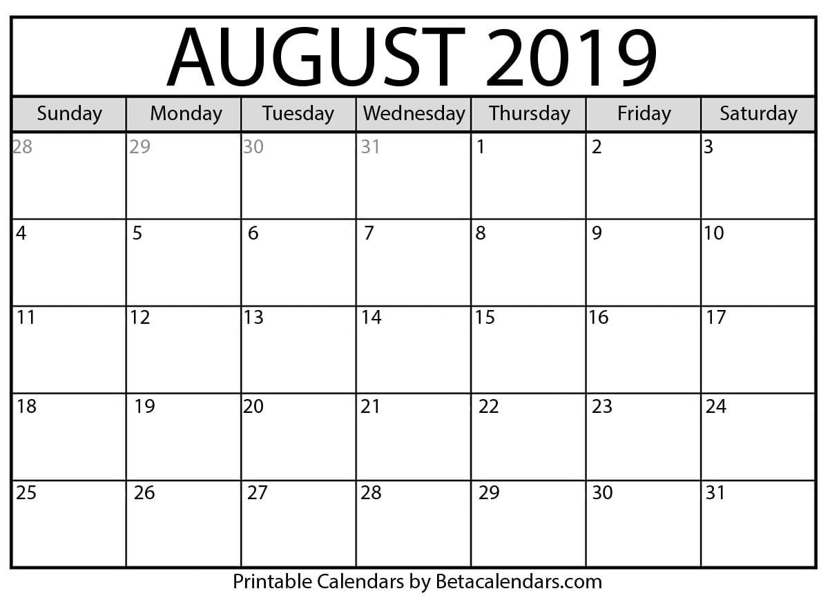 Blank August 2019 Calendar Printable - Beta Calendars