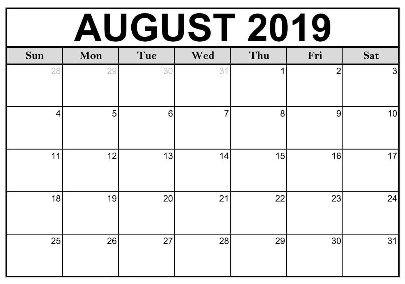 Blank August 2019 Calendar Printable #editable #templates