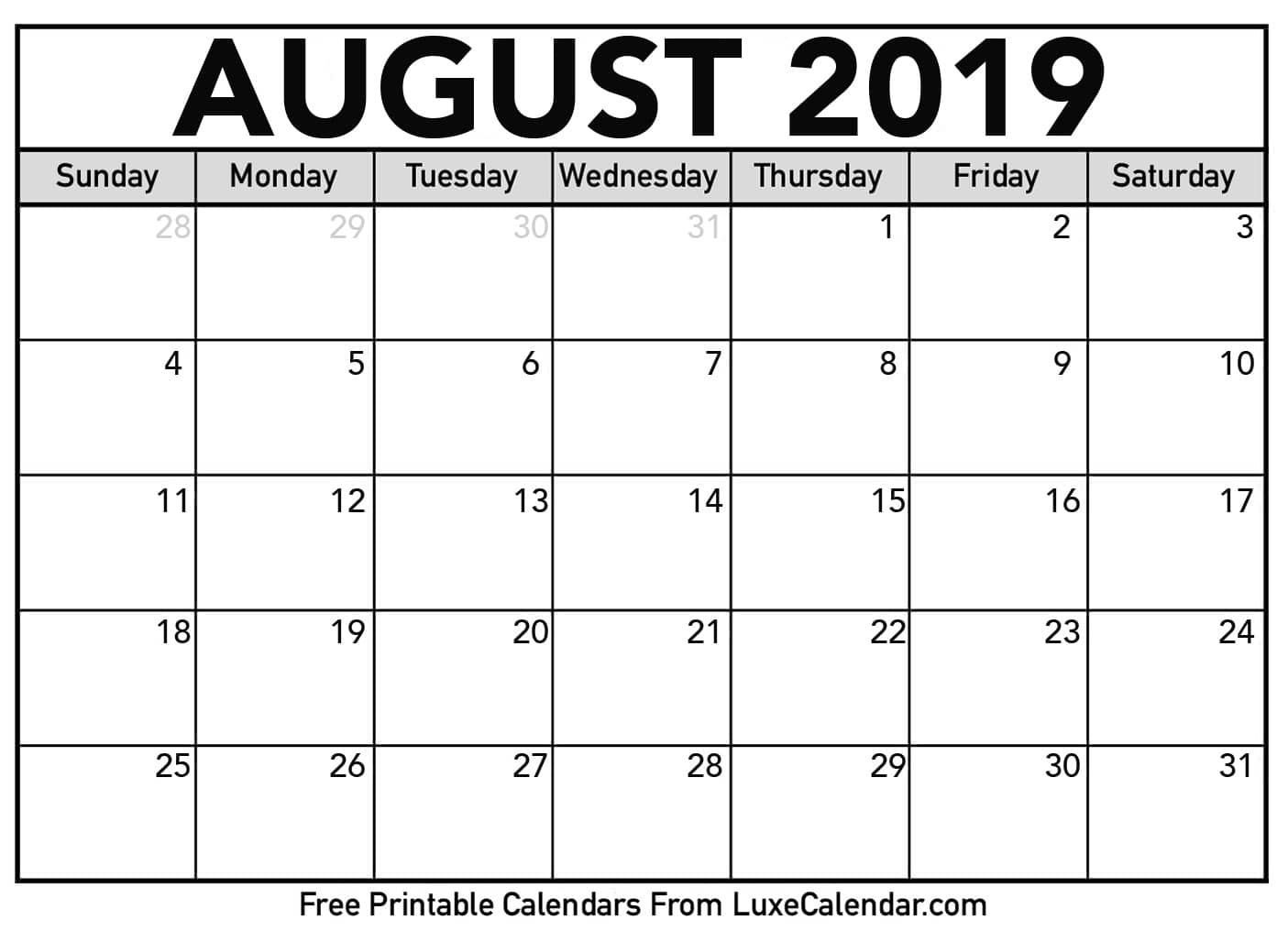 Blank August 2019 Calendar Printable - Luxe Calendar