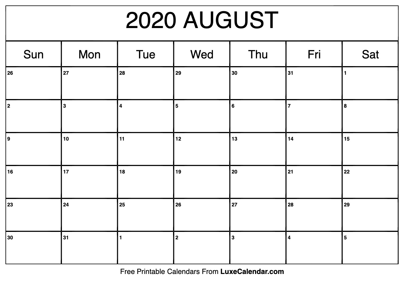 Blank August 2020 Calendar Printable - Luxe Calendar